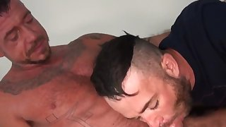 jock getting ass nailed in hot three-way