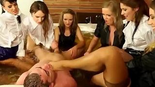 Clothed dominas tug boner