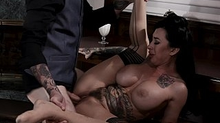 Busty tatted-up MILF pounded..