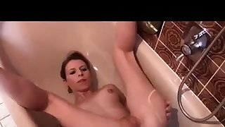 Sexy girl peeing on her face and farting