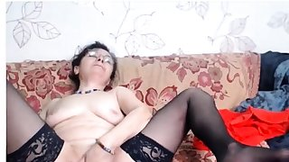 Mature in glasses web cam 05..