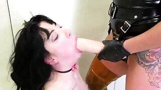 Self restrain bondage gagged..